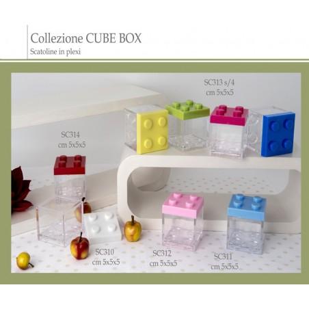 Scatolina in plex cubo costruzioni BIANCO
