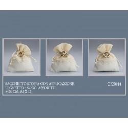 sacchetto stoffa con applicazione legnetto