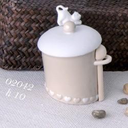Bomboniera zuccheriera in ceramica con gattino