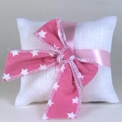 Cuscino stoffa BIANCO con fiocco rosa