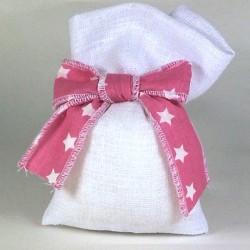 Sacchetto stoffa BIANCO con fiocco rosa