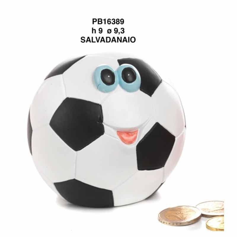 SALVADANAIO PALLA CALCIO SPIR. 9.3 CM. RESINA